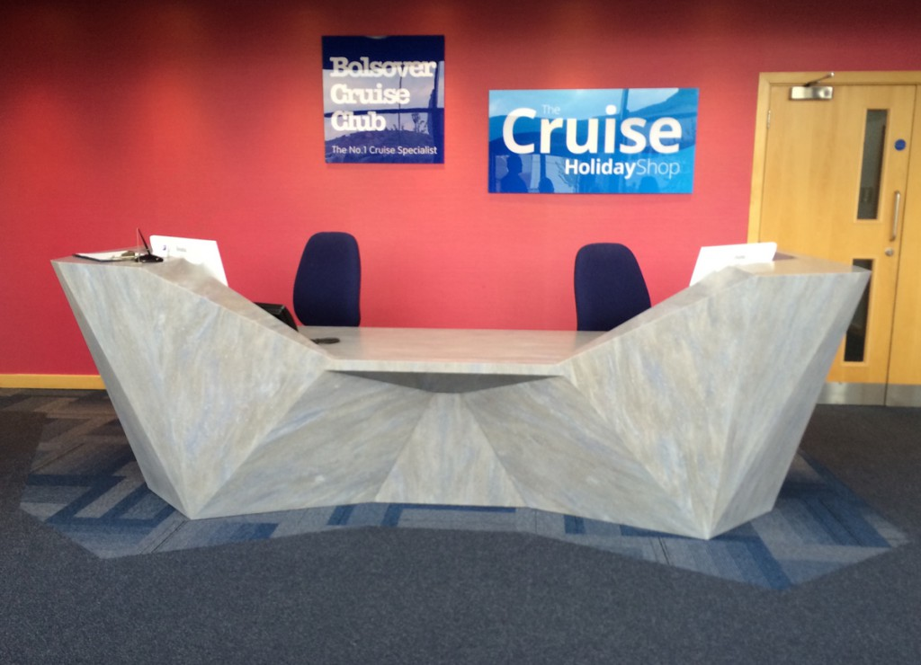 The custom designed Reception Desk