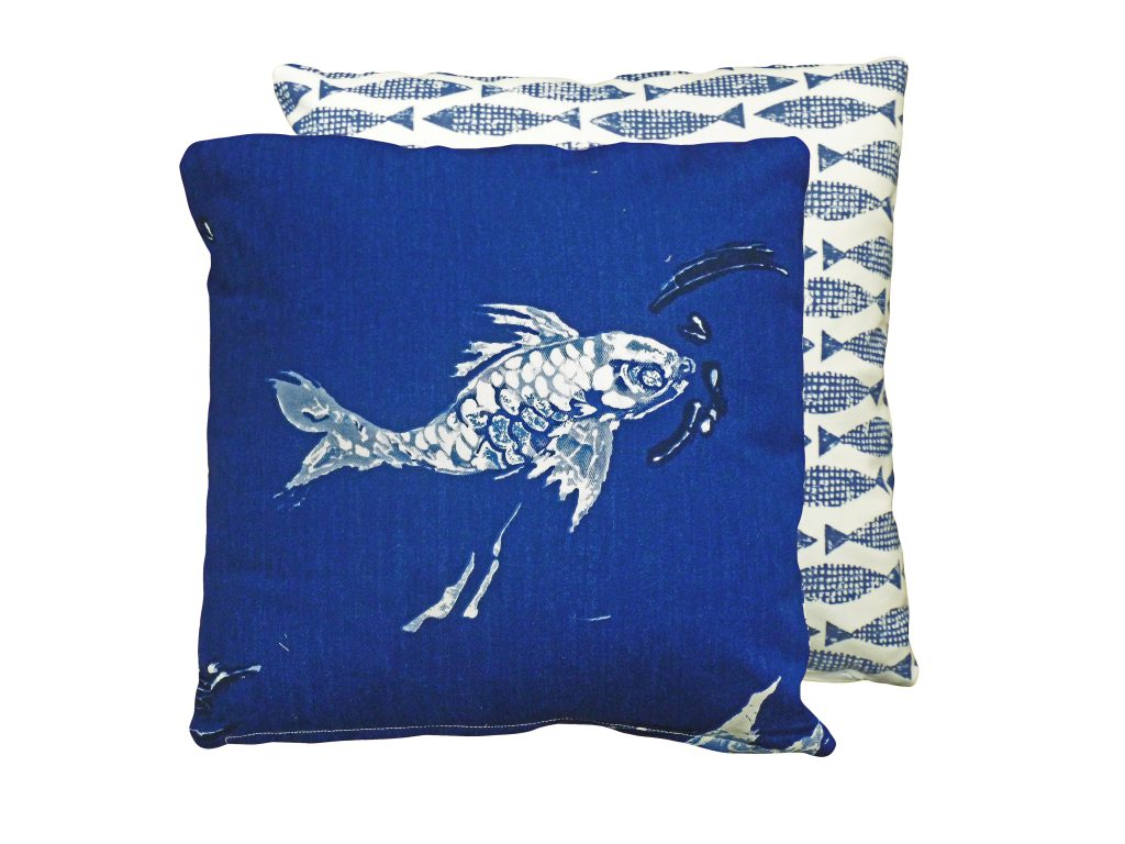 Deep Blue Fish Cushion from £23 www.christopherdaniel.co.uk 0151 641 9155