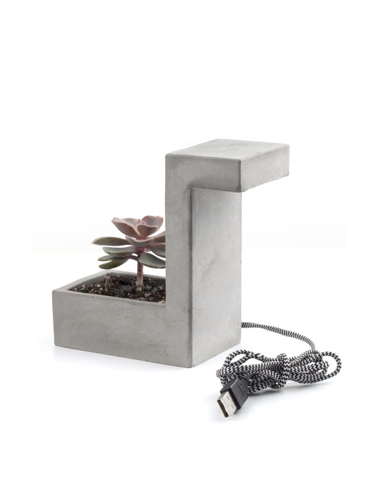 Concrete Desk Lamp With Planter £23.35 www.kikkerlandeu.com