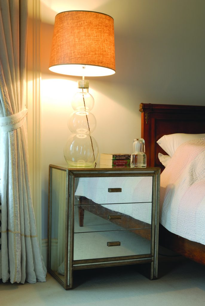 Temple bedside table in eglomise by Julian Chichester