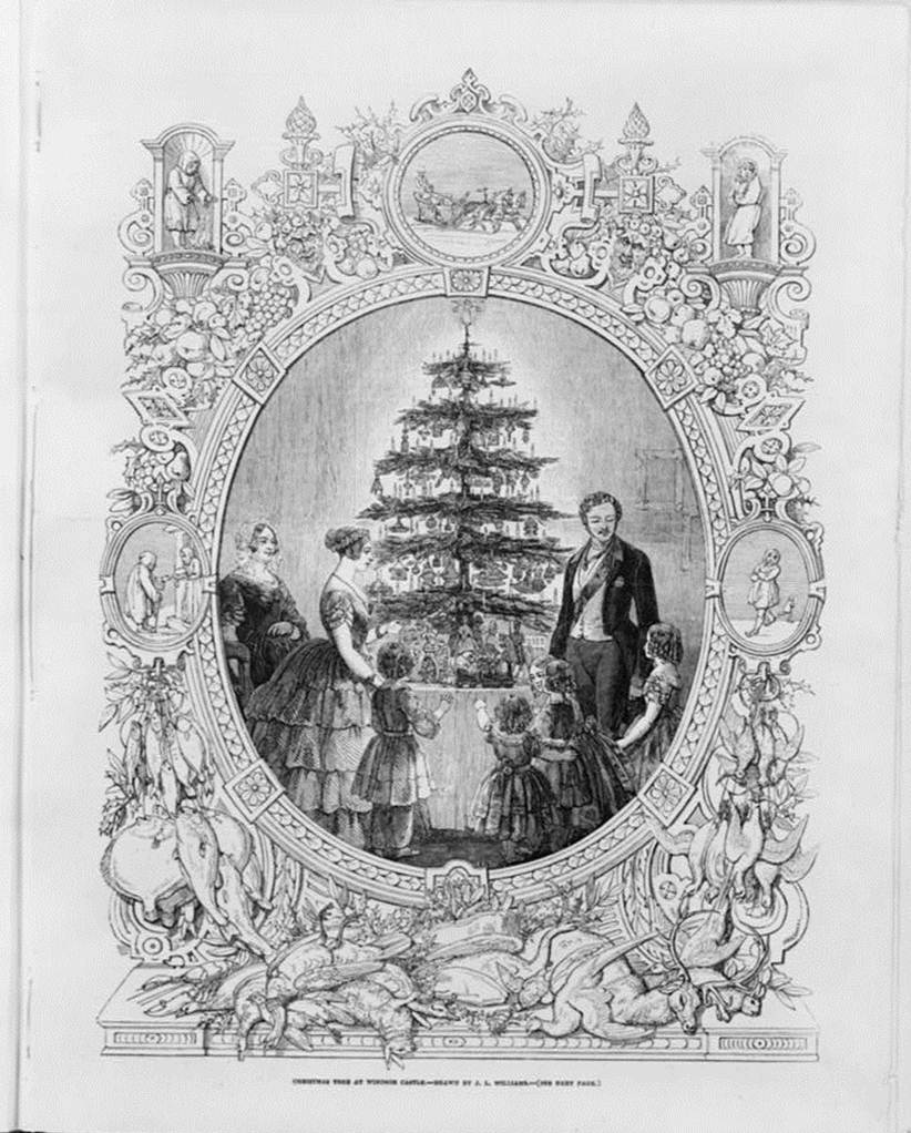1848 Illustrated London News Sketch showing the Royal Family around the Tree